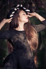 27 (mugensx) Tags: park light portrait woman brown sun black nature girl beautiful beauty face fashion lady umbrella hair dress minolta bokeh sony young 28 af 135 alpha 135mm 13528 a900 dslra900