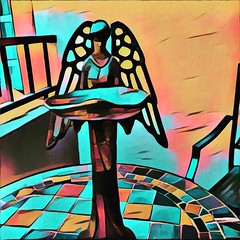 Guardian Angel - tribute to my husband who passed away six months ago. (ArtsySF©Marjie) Tags: inmemory tribute guardian angel sculpture metal iphone app deck abstract art mosaic table