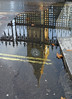 Big Ben Reflected! (RiverCrouchWalker) Tags: bigben westminster london uk greatbritain britain theelizabethtower housesofparliament puddle reflection pavement fence doubleyellowlines autumnleaves gates thegreatclock