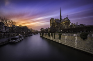 Winter sunset over Notre Dame