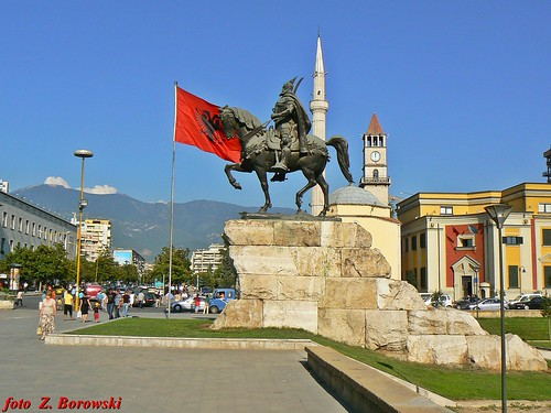 Tirana - square and the monument of Skanderbeg