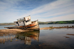 Point Reyes [EXPLORED] (Romain Collet) Tags: boat wreck water sea nature landscape sun clouds sky blue reflection paysage nikon d7100 color beautiful point reyes san francisco california napa valley