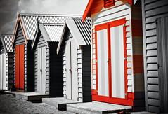 Selective (Gillian Everett) Tags: selectivecolour colour colourpop red black white 117 2017 26 beachhuts art