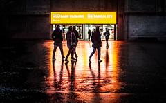 The Radical Eye (DobingDesign) Tags: tatemodern london citylife citylights exhibition nightshot nightcolours wet illuminating moist reflection neon people walking contrast night nightlife colour galleries streetphotography wettarmac signage text lettering
