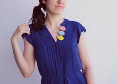 On a blue note (hanaletters) Tags: handmade etsy summerdress deepblue seablue handembroidery feltbrooch feltpin romanticdress felthedgehog hanaletters cutehedgehogs nowrongwaytowearabrooch