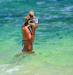 Shady Spot (Ctuna8162) Tags: ocean woman sun beach water hawaii sand bikini kauai poipubeach