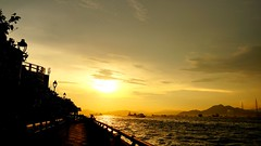 Feel Comfort and Stable (crystalchan777) Tags: road bridge sunset sea people sun seascape mountains nature sunshine architecture clouds way landscapes long natural harbour walk enjoy sunsetlight cloudscape lovesunset sunsetphotography seaoftheclouds