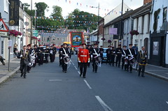 13TH JULY 2015 GILFORD ROYAL BLACK PARADE ON THEIR WAY TO SCARVA (Monkiiiey Henry Clark) Tags: street black cars water true way drums village royal july blues police bikes down flute parade bands marching co to motor uniforms their 13th gilford kells lodges armagh on 2015 bessbrook orangefest scarva drumderg