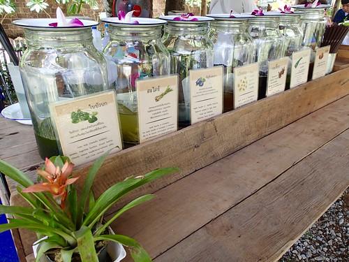 Thai herbal ice teas: Gotu Kola, Lemongrass, Butterfly Pea, Chrysanthemum, Roselle, Pah Tooey (or something like that) and Wood Apple (Bel Fruit).