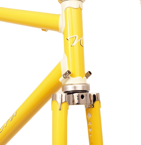 <p>Head tube detail on Waterford 22-Series Road Sport featuring Sachs' Richissimo Lugs in Canary with painted lugs.  These lugs included built-in cable guides.<br/></p>