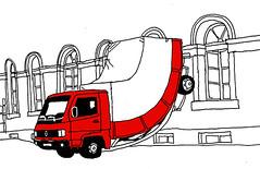 Erwin Wurms Truck_Zhringerstrasse, Karlsruhe_July 2015 (stevefaradaysketches) Tags: art truck germany karlsruhe erwinwurm zhringerstrasse stevefaraday