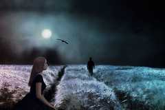 the ghost of you (PYLmom) Tags: moon field photomanipulation photoshop wheat ghost goodbye emotional