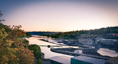 willamette falls (almostsummersky) Tags: travel bridge trees sunset summer sky plant fall abandoned industry water oregon buildings river lights waterfall stream industrial power sundown warehouse valley drought gorge lit cascade willametteriver banks willamettefalls trres