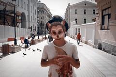 nik (hey_dima) Tags: street portrait man film hat cat 35mm mask kodak moscow 28mm olympus ruslan 135mm 400iso om1n