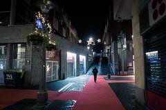 Lost Among The Lights / Seul parmi les lumières... (Gilderic Photography) Tags: liege belgium belgique belgie morning night lights lumieres nuit alone man silhouette walking city ville path chemin canon g7x gilderic