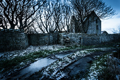 Abandoned Orkney - Tankerness (Premysl Fojtu) Tags: abandoned derelict decay building stone house tankerness orkney mainland island scotland winter snow dusk twilight goldenhour old trees canon 5dmkii ef1740 wideangle longexposure landscape
