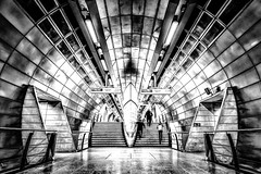 """Couldn't escape if I wanted to...."" (Bazzography!) Tags: waterloo underground london londonunderground metro symmetry symmetrical harsh overdeveloped dynamic abba escape noescape impersonal monochrome mono contrast blackwhite blancoynegro white noiretblanc perspective bazmatthews"