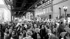 Marching on Wabash (Andy Marfia) Tags: chicago loop wabashave womensmarch protest march rally resistance crowd people cta l el elevated tracks blackwhite bw nikond7100 1685mm 150sec f8 iso200