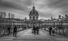 Parisiens (aurlien.leroch) Tags: paris pontdesarts nikon cityscape blackandwhite france bridge instituedefrance