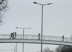 Footbridge In The Mist (M C Smith) Tags: fog mist bridge lights lamps people trees grey