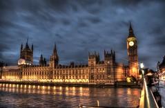 Houses of Parliament (arciere84) Tags: uk bridge england london tower clock westminster thames night clouds river riverside unitedkingdom housesofparliament parliament bigben londra hdr westminsterbridge