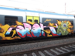 the track of the hunted (en-ri) Tags: train writing torino graffiti crew sdk 2015 opak mostriciattolo