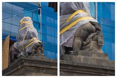 (goran patlejch) Tags: statue stone angel construction diptych funny prague wrapped prag praha praga cover cupid baroque protection patlejch gntx goenetix patlejh