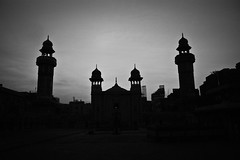 Wazir Khan - Lahore (WaleedAhmed) Tags: travel sunset blackandwhite monochrome outdoor mosque lahore walledcity wazirkhan