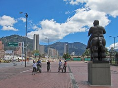 Bicycling in Bogota (ex_magician) Tags: pictures trip travel statue bicycling photo tour juan image photos picture adobe guide botero 2012 lightroom moik nudeguy adobelightroom calle24 nudehorse bogotabiketours
