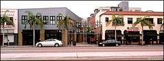 Jul 24, 2015: Mission Hills street scene (mueflickr) Tags: urban panorama color buildings july scan 45mm facebook 2015 xpanii frame19 borderfx dxopsp fujifilm200cn