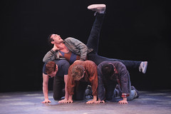 Michael Callahan as Action (top), (L to R) Tim McGarrigal as Diesel, Jake DuPree as Snowboy and Andy Richardson as Baby John in West Side Story, produced by Music Circus at the Wells Fargo Pavilion August 4-9, 2015. Photo by Charr Crail.