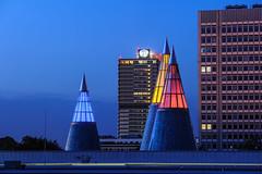 cones and cubes (aperture one) Tags: bonn architektur himmel langzeitbelichtung stadt stadtlandschaft wolken architecture blauestunde bluehour city cityscape clouds longexposure sky urban