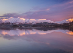 Pink Dawn (Vemsteroo) Tags: lrthefader lakedistrict cumbria mountains skiddaw dawn sunrise winter snow ice cold reflection canon 5d mkiii 70200mm leefilters mountainscape beautiful nature lakes keswick borrowdale manesty dramatic epic shoreline warm pink sky cloud cloudscape