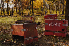 It's The Real Thing... (/ shadows and light) Tags: cocacola coke coolers neardauphin manitoba abandoned colour countryside fall autumn leaves old rust textures trees red refreshments beverages sodapop rural