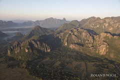 Vang Vieng (Rolandito.) Tags: south east southeast asia vang vieng laos limestone karst mountaines aerial balloon