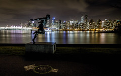 Harry Jerome Statue (rabbit.Hole) Tags: vancouver harryjerome stanleypark coalharbour nightphotography