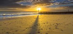 Temporary Record (nicklucas2) Tags: sunset sun seascape beach sea sand groyne cloud cloudsstormssunsetssunrises ray wave shadow seaside