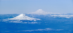 Snowy Cascades: Mt Adams to Mt Rainier (GeorgeOfTheGorge) Tags: pacificnorthwest january deltaairlines washington winter areal snowcapped peaks mtrainier windowseat arial blueandwhite cascademountainchain