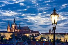 Prague Castle from Charles Bridge at Night (BOCP) Tags: praguecastle charlesbridge streetlamp lamppost prague czechrepublic bluehour night city citylights cityscape urbanlandscape travel architecture