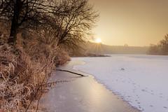 Frozen River At Sunrise (Canoneer79) Tags: river water landscape frost frozen shore fuji x