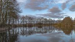 Blue (jojo54th) Tags: water wasser pond teich river flus ems reflections reflektionen spiegelung trees bäume nature natur sky himmel clouds wolken blau blue ngc twop