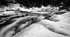 Frozen River (eriknst) Tags: oslo blackandwhite river snow ice frozen norway norwegen norvege monochrome outdoor marka nordmarka maridalen eriknst 2017 nikon d810 1424 water winter january woods trees forest overcast leakingboots motion movement maridalsvannet nikkor viveza