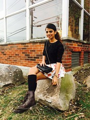 Black mesh top! (outoncatwalk) Tags: style fashion ootd whatiwore aboutalook fashionblogger people outdoors bags combatboots