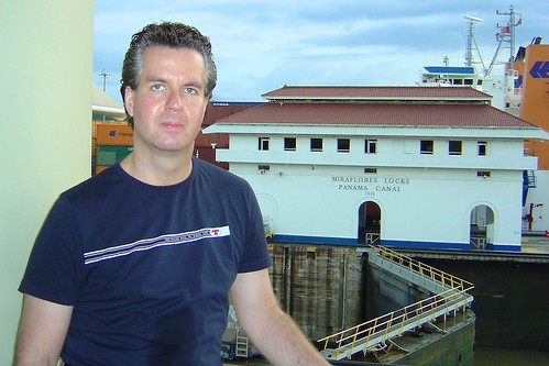 I at Miraflores Locks at Panama Canal
