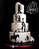 love story wedding cake (RebeccaSutterby) Tags: pink flowers wedding horse white black love silhouette basketball cake groom bride dancing fuchsia story round bling elegant proposal simple rhinestone courting 4tier
