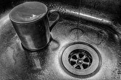 Sinking (OzzRod) Tags: water kitchen monochrome sink pentax k5 meniscus smcpentaxa20mmf28 pentaxsingleinjuly2015