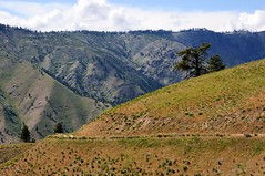 Foreground and Background (YuriZhuck) Tags: usa nature rock landscape us washington unitedstates hiking hill canyon trail wa overlook steppe swakane