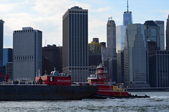 Pushing Bouchard (pjpink) Tags: nyc newyorkcity red summer newyork june river ship manhattan eastriver tugboat 2015 bouchard eveningmist pjpink