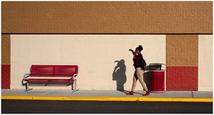 Walking Her Shadow (sorrellbruce) Tags: morning red woman abstract lady morninglight colorful fuji shadows patterns cellphone textures redshoes fujinon23mm fujixt1