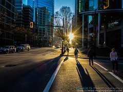 Sunset & Shadows in Vancouver (Chris Gouge) Tags: life street city travel light sunset people urban holiday canada vancouver golden evening shadows dusk hour everydaylife